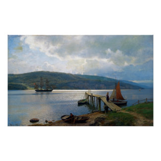 Hans Gude The Jetty at Feste Near Moss Poster