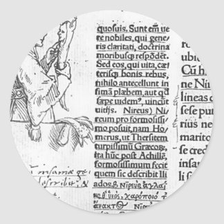 Hans Holbein - Marginal illustration for Erasmus Classic Round Sticker