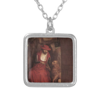 Hans Memling- St. Jerome and the Lion Silver Plated Necklace