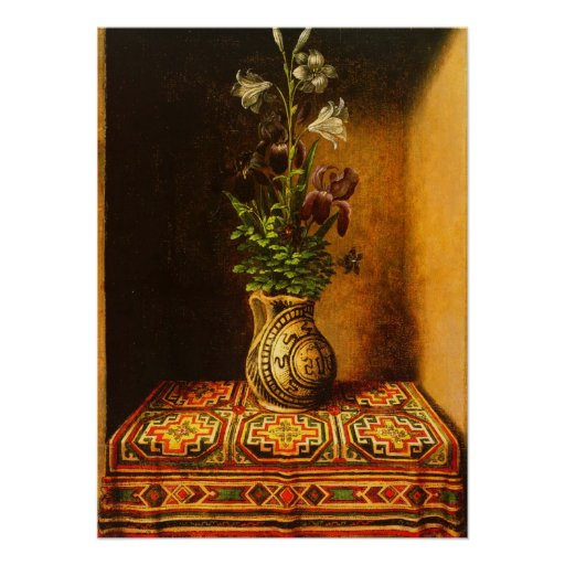 Hans Memling - Still life with Flowers Poster