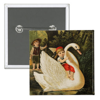 Hansel and Gretel and the Swan 2 Inch Square Button