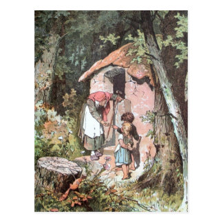 Hansel and Gretel and the Witch at the Door Postcard