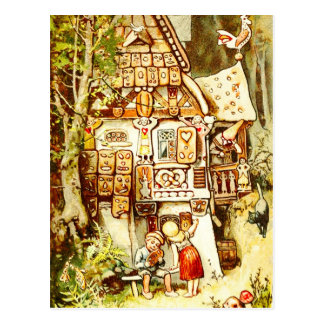 Hansel and Gretel at the Gingerbread Cottage Postcard