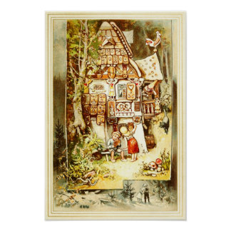 Hansel and Gretel at the Gingerbread Cottage Poster