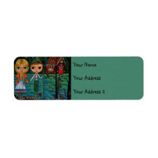 Hansel and Gretel Forest Gingerbread House Candy Return Address Label