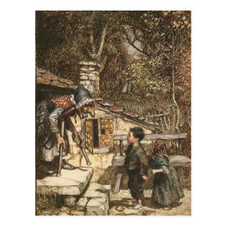 Hansel and Gretel Meet the Witch Postcard