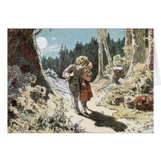 Hansel and Gretel on the Path in the Moonlight Card