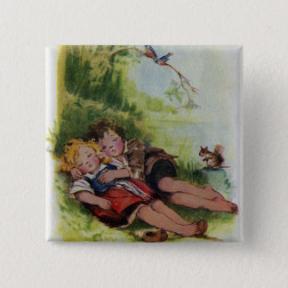 Hansel and Gretel Sleeping in the Woods 2 Inch Square Button