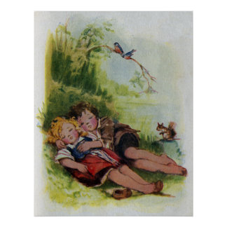 Hansel and Gretel Sleeping in the Woods Poster