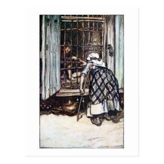 Hansel Caged by the Witch Postcard
