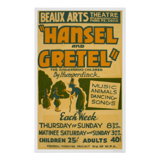 Hansel & Gretel Boston 1940 WPA Poster