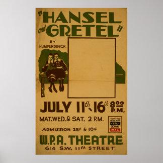 Hansel Gretel WPA Vintage Theatre Poster