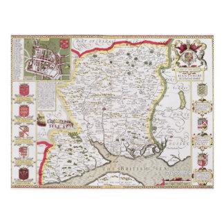 Hantshire, engraved by Jodocus Hondius Postcard