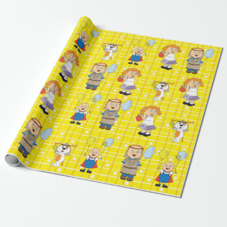 """Hanukhah Kids & Zeevie"" Wrapping Paper"