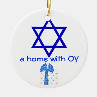 Hanukkah and Christmas Holidays Round Ceramic Ornament
