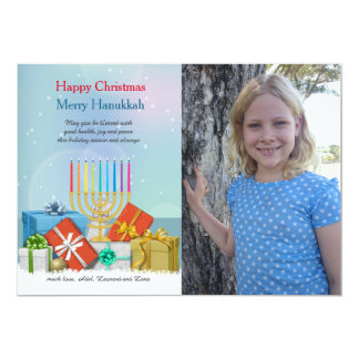 Hanukkah and Christmas Photo Holiday Card