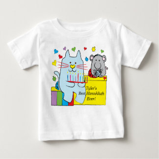 Hanukkah Baby T-Shirt Blue Cat and Mouse