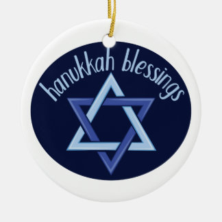 Hanukkah Blessings Ceramic Ornament