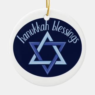 Hanukkah Blessings Round Ceramic Ornament