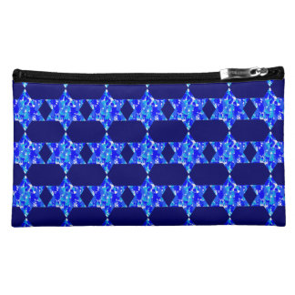 Hanukkah Blue Paint Splatter Jewish Stars Cosmetic Bags