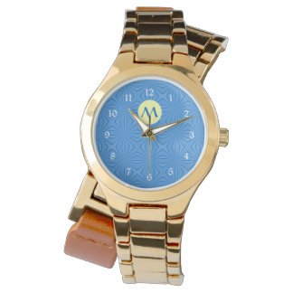 Hanukkah Blue Squiggly Squares, Yellow and Initial Wrist Watches