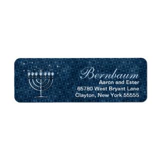 Hanukkah Bright Menorah Traditional Blue Return Address Label