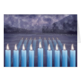 Hanukkah Candles & Snowy Window Greeting Card