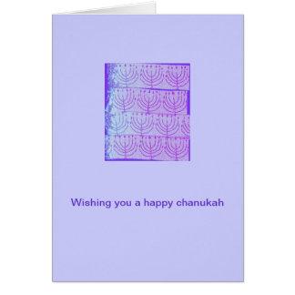 Hanukkah Card with Purple Menorahs