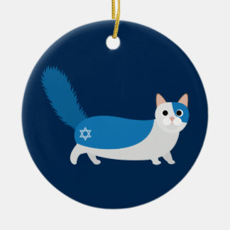 Hanukkah Cat Ceramic Ornament