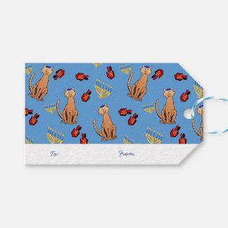 Hanukkah Cat Dreidel Blue Gift Tag