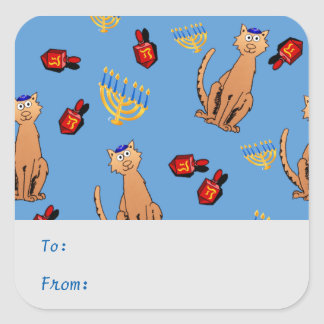 Hanukkah Cat Dreidel Blue Gift Tag Sticker