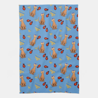 Hanukkah Cat Dreidel Blue Kitchen Towel