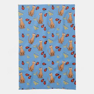 Hanukkah Cat Dreidel Blue Kitchen Towel