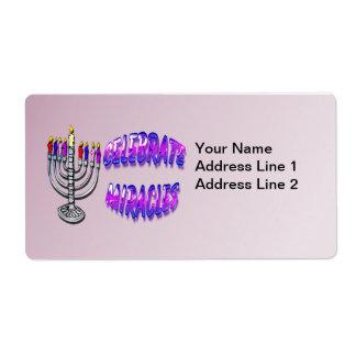 Hanukkah - Celebrate Miracles, Menorah Shupping La Shipping Label