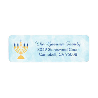 Hanukkah Chanukah Menorah Return Address Label
