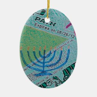 Hanukkah Collage Ceramic Oval Ornament