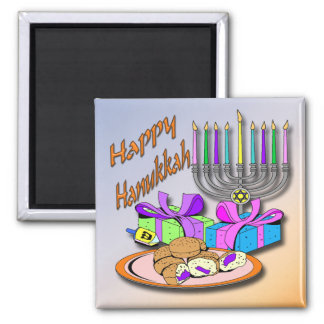 Hanukkah - Donuts, Menorah, Dreidel Magnet