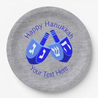 Hanukkah Dreidels Blue Festival of Lights Party Paper Plate