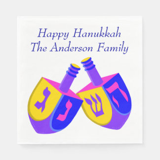 Hanukkah Dreidels Colorful Fun Celebration Party Disposable Napkins