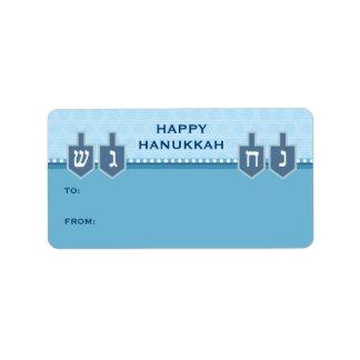 Hanukkah Dreidels Gift Label