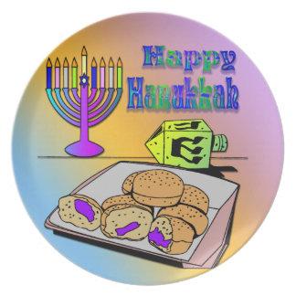 Hanukkah - Food, Dreidel, Menorah Plate