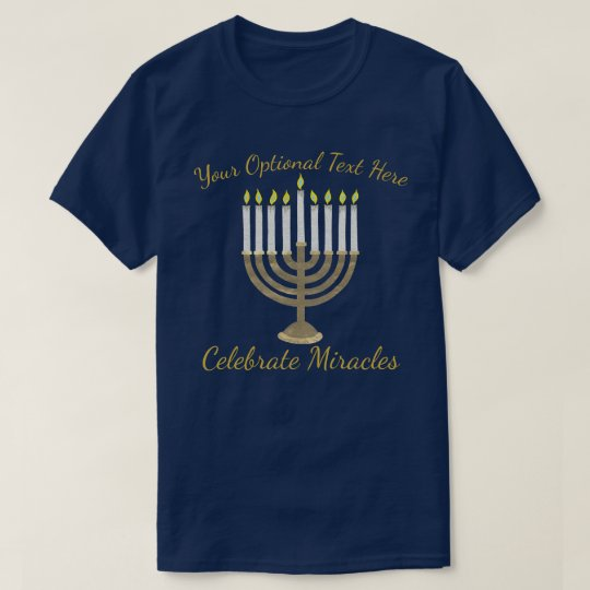 Hanukkah Gold Menorah Celebrate Miracles Holiday T-Shirt