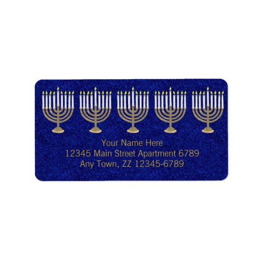 Hanukkah Gold Menorah On Blue Elegant Holiday
