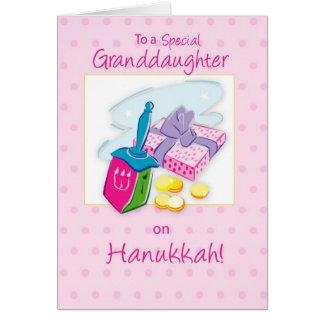 Hanukkah Granddaughter, Pink, Toys and Gifts Card