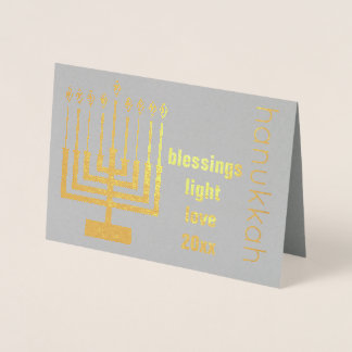 Hanukkah Holiday Gold Custom Year Add Your Photo Foil Card