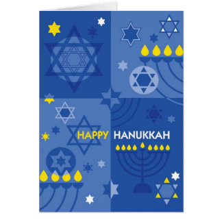 Hanukkah Iconic Menorah and Star of David Design Card