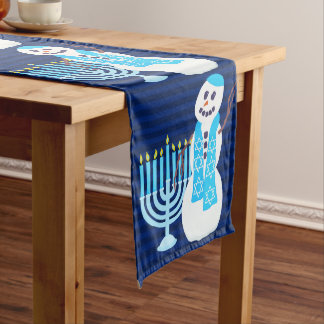 Hanukkah Jewish Snowman And Blue Menorah Holiday Long Table Runner