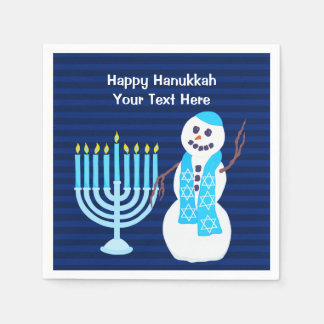 Hanukkah Jewish Snowman Blue Menorah Party Decor Disposable Napkin