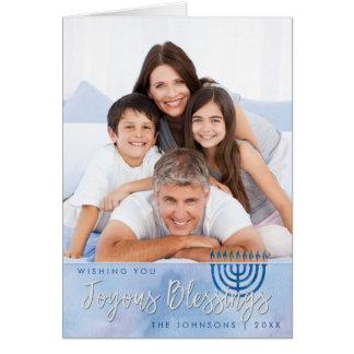 Hanukkah Joyous Blessings Blue & White Watercolor Card