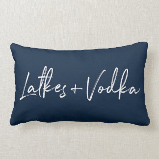 Hanukkah Latkes and Vodka Navy Throw Decor Pillow